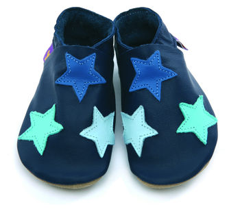 Boys Or Girls Soft Leather Baby Shoes Navy Stars