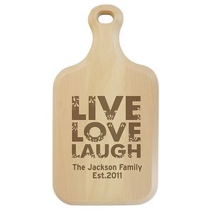 Live Love Laugh Personalised Paddle Chopping Board