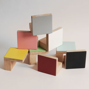 Colour Door Wooden Knobs Square Shape