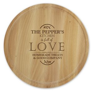 Full Of Love Personalised Round Kitchen Chopping Board
