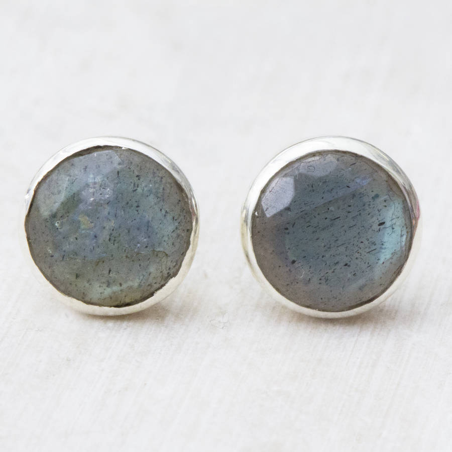 Camille Sterling Silver Stud And Stone Earrings