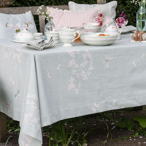 Hydrangea And Butterflies Cotton Table Linen - dining room