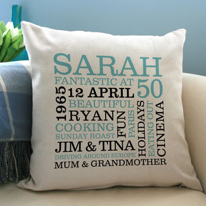 Personalised 50th Birthday Word Art Cushion - living room