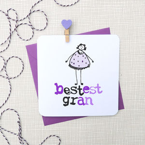 'Bestest Nan/Gran' Greeting Card - mother's day cards