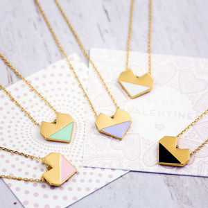 Enamel Heart Necklace On Gift Card - gifts for her