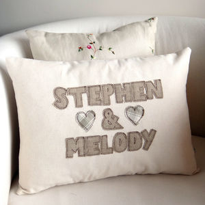 Personalised Embroidered Couples Cushion - bedroom