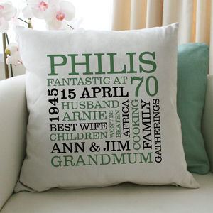 Personalised 70th Birthday Word Art Cushion - 70th birthday gifts