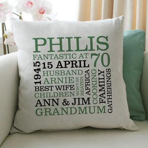 Personalised 70th Birthday Word Art Cushion