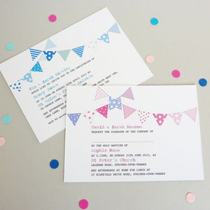 Bunting Personalised Christening Invitations - children's parties