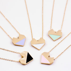 Enamel Heart Necklace On Gift Card - winter sale