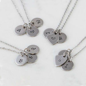 Personalised Stainless Steel Initial Charm Necklace - gifts for her