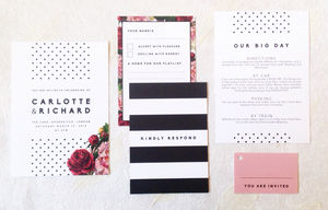 'Dotty About You' Wedding Invitation - reply & rsvp cards