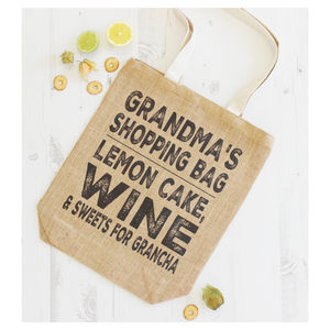 Personalised Jute Grandma Shopping Bag