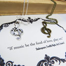 Shakespeare Music Necklace