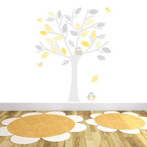 Grey And Yellow Tree Fabric Wall Stickers