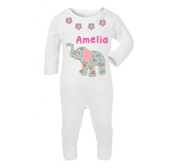 Personalised Elephant Babygrow