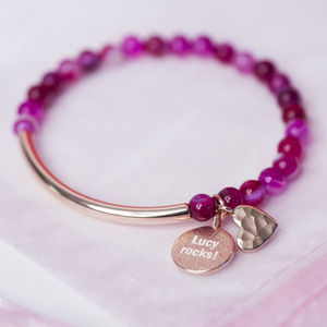 Pink Agate Heart And Rose Gold Bracelet - women's jewellery