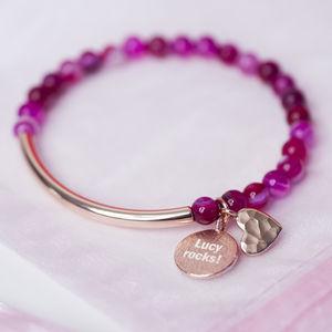 Pink Agate Heart And Rose Gold Bracelet - bracelets & bangles
