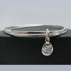 Two Strand Bangle With Oval Charm - bracelets & bangles