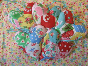 Patchwork Fabric Hearts - decorative accessories