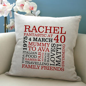 Personalised 40th Birthday Word Art Cushion