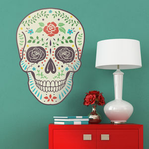 Colourful Day Of The Dead Skull Wall Sticker - wall stickers