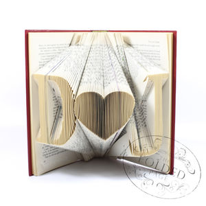 Initials With Heart Folded Book Decoration - book-lover