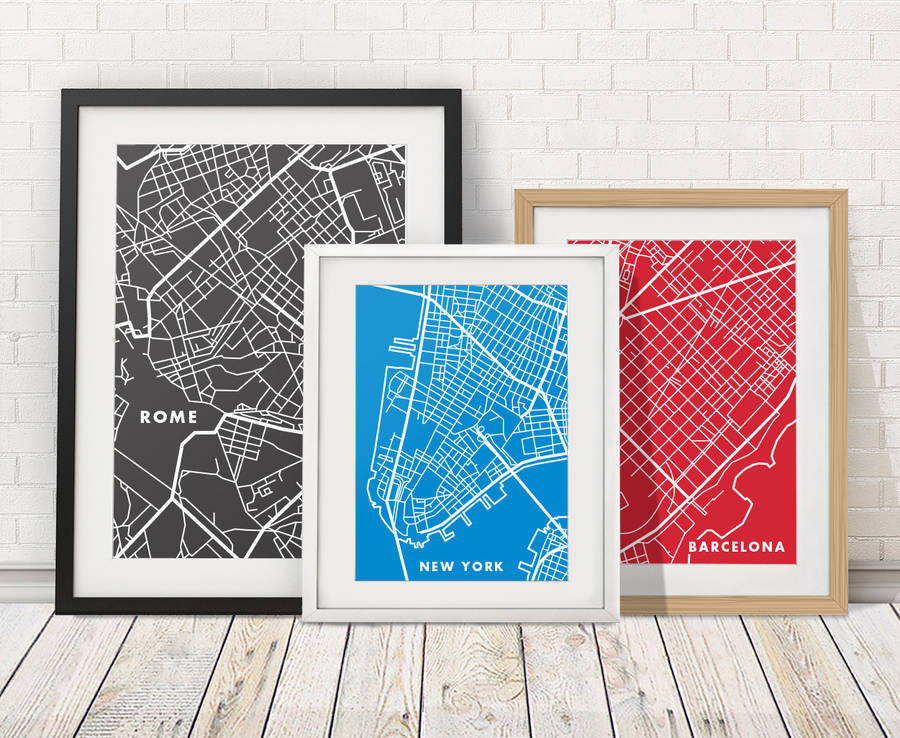 City Map Prints city map print by over & over | notonthehighstreet.com