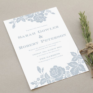 Engraved Botanical Wedding Invite Set
