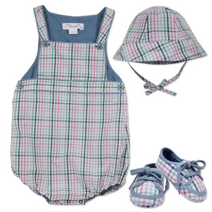 Baby Boy Traditional Check Dungaree, Hat And Booties