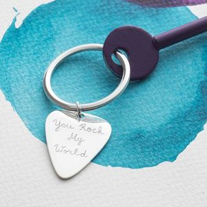 Personalised Plectrum Key Ring - gifts for fathers