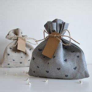 Heart Pattern Fabric Gift Bag - wrapping