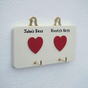 Personalised Double Heart Key Hook
