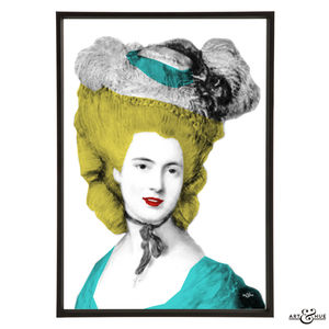 Lady In Blue Graphic Pop Art Print