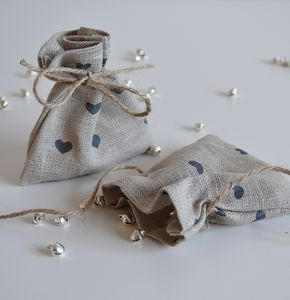Heart Pattern Mini Fabric Gift Bag - wedding favours