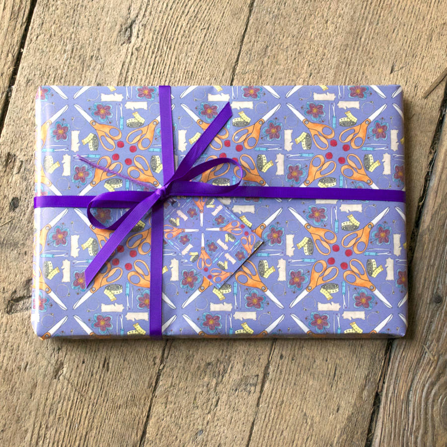 Sewing Room Gift Wrapping Room: Sewing Wrapping Paper By Becka Griffin Illustration