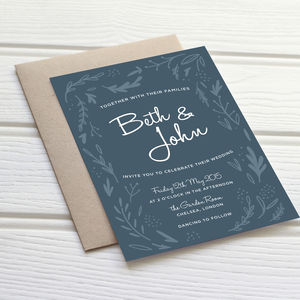 Midnight Hedgerow Wedding Stationery - personalised