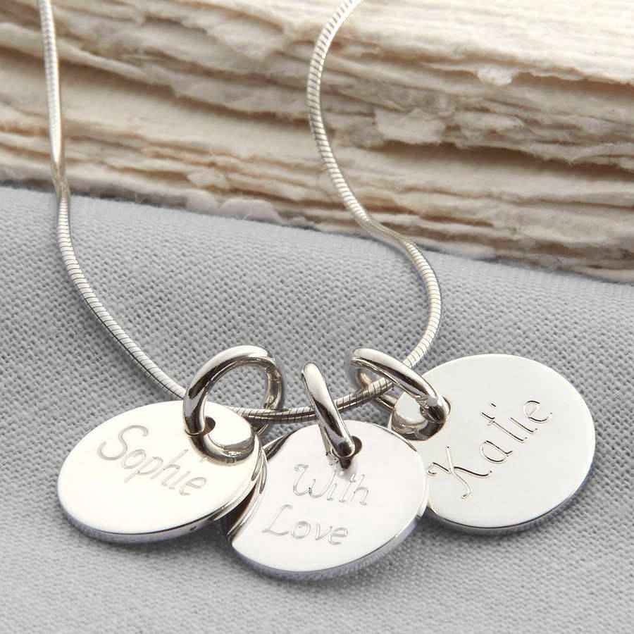 Disk Silvers: Personalised Loved Ones Sterling Silver Disc Necklace By