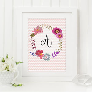 Personalised Floral Monogram Print - pictures & prints for children
