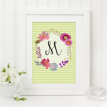 Personalised Floral Monogram Print Green