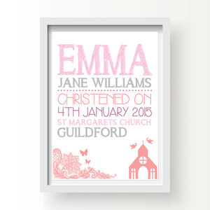 Personalised Christening / Baptism Blue Or Pink Print - posters & prints