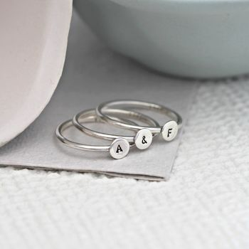 Personalised Disc Initial Stacker Rings