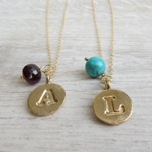 Bronze Initial And Birthstone Necklace - jewellery sale