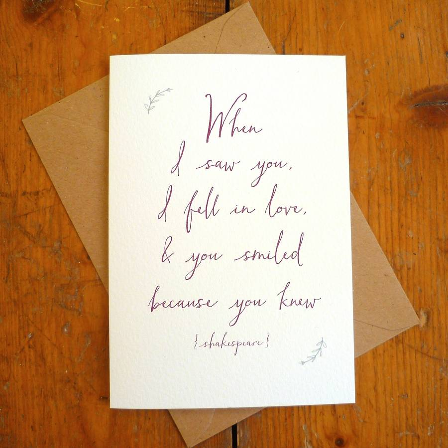 Amazing U0027When I Saw Youu0027 Valentine Quote Card. U0027