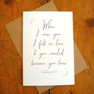 'When I Saw You' Literary Quote Romantic Card - anniversary cards