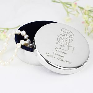 Flower Tatty Teddy Round Personalised Trinket Box
