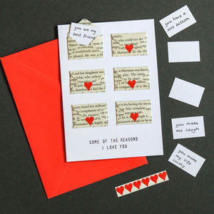 Six Love Note Mini Envelope Valentines Card - anniversary cards
