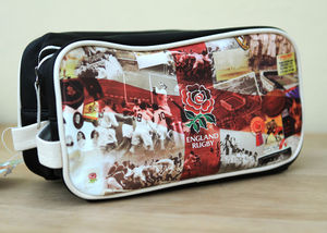 England Rugby Retro Leather Wash Bag