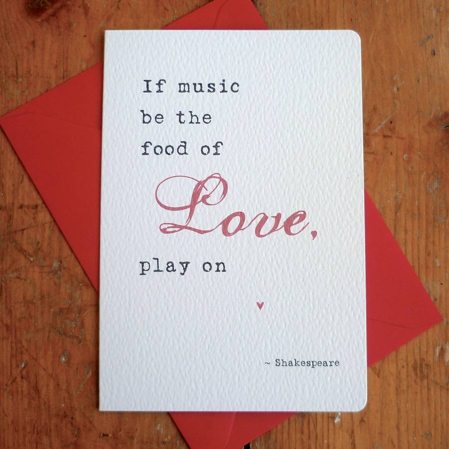 Captivating U0027Food Of Loveu0027 Literary Quote Card. U0027