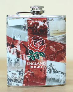 Boxed Retro England Rugby Hip Flask - Rugby World cup